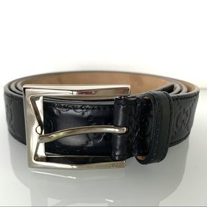 Gucci Signature Logo Black Leather Belt